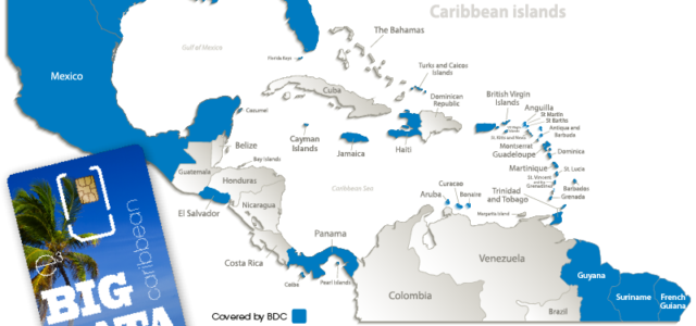 Caribbean map of coverage